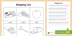 Shopping List AED Differentiated Activity Sheets