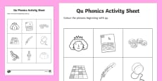 qu  Phonics Colouring Activity Sheet