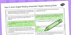 2014 Curriculum UKS2 Years 5 and 6 Reading Assessment Targets Colouring Sheet