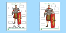 Label a Roman Soldier Worksheet