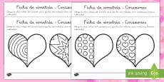 Fichas de simetría: Día de San Valentín