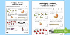 Identifying Quarters, Thirds and Halves Activity Sheet
