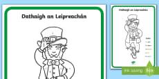 Dathaigh an Leipreacháin Colour by Numbers Activity Sheet - Gaeilge
