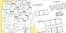 CVC Writing Word Activity Sheet Pack with British Sign Language
