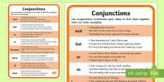 Conjunction Examples Word Mat