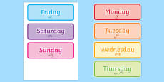 Days of the Week Word Cards Urdu Translation
