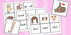 Australia - Parts Of The Body Word And Picture Matching Cards