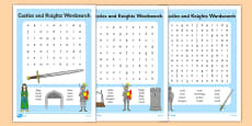 Castles and Knights Differentiated Wordsearch