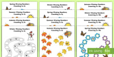 * NEW * Seasons Path Missing Numbers Counting in 2s, 5s and 10s Activity Pack