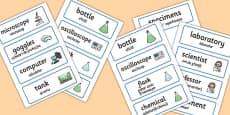 Science Lab Word Cards Romanian Translation