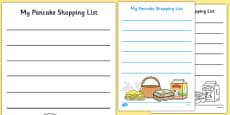 Pancake Shopping List Templates