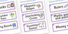 Amethyst Themed Editable Maths Area Resource Labels