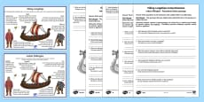 Viking Longships Information and Comprehension Activity English/Polish