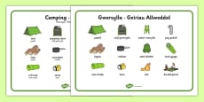 Welsh Camping Vocabulary Keywords