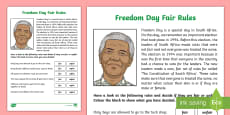 * NEW * Freedom Day Fair rules Activity Sheet