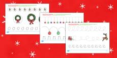 Christmas Pencil Control Activity Sheets Romanian Translation
