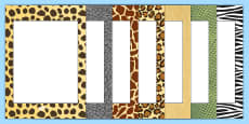 Editable Safari Animal Patterns Themed Portrait Frames