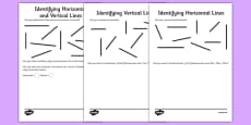 Identifying Horizontal and Vertical Lines Activity Sheet Pack