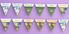 Months of the Year Display Bunting Cymraeg