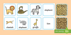 Safari Animal Pattern Matching Cards