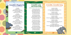 Crocodile Themed Songs and Rhymes Resource Pack to Support Teaching on The Enormous Crocodile