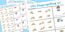 CVC Spelling Worksheets with British Sign Language 'a'