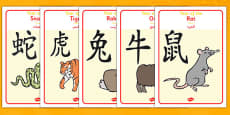 Chinese Year of the Zodiac Animal Display Posters Arabic Translation