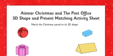 Aistear Christmas and The Post Office 3D Shape and Present Matching Activity Sheet