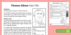 Thomas Edison Differentiated Fact File