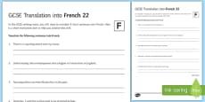 GCSE Translation into French 22 Foundation Tier Activity Sheet