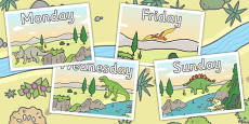 Dinosaur Themed Days of the Week Posters