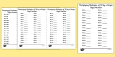 Multiplying Multiples of 10 by 1 Digit Numbers A5 Activity Sheet