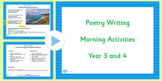 Year 3 and 4 Poetry Writing Morning Activities