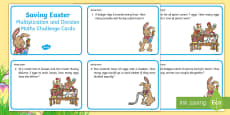 * NEW * KS1 Saving Easter Multiplication and Division Maths Challenge Cards