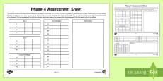 Phase 4 Phonics Letters and Sounds Assessment Sheets