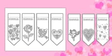 Valentine's Mindfulness Colouring Bookmarks Romanian Translation