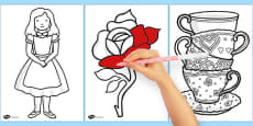 Alice in Wonderland Colouring Sheets