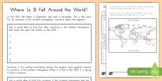 Where Is It Fall Around The World? Activity Sheet