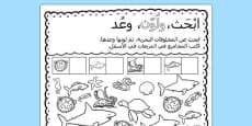Under the Sea Find Colour and Count Activity Sheet Arabic