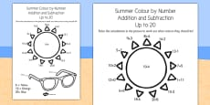 Summer Colour by Number Addition and Subtraction Up to 20