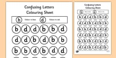 Confusing Letters Colouring Activity Sheets B and D