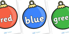 Colour Words on Baubles
