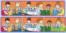 * NEW * Bine ați venit la școală! Banner English/Romanian
