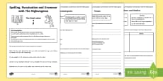 * NEW * Spelling, Punctuation and Grammar with The Highwayman Activity Sheets
