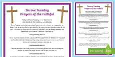 * NEW * Shrove Tuesday Prayers of the Faithful Print-Out