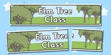 Elm Tree Themed Classroom Display Banner