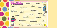 Word Mat to Support Teaching on Matilda