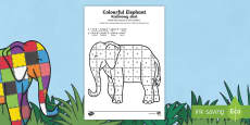 Colour by Number Sheet to Support Teaching on Elmer English/Polish