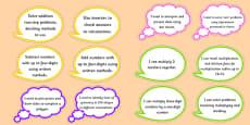 Year 4 Maths Assessment Targets on Speech Bubbles