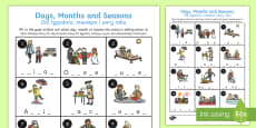 Days, Months and Seasons Missing Letters Activity Sheet English/Polish